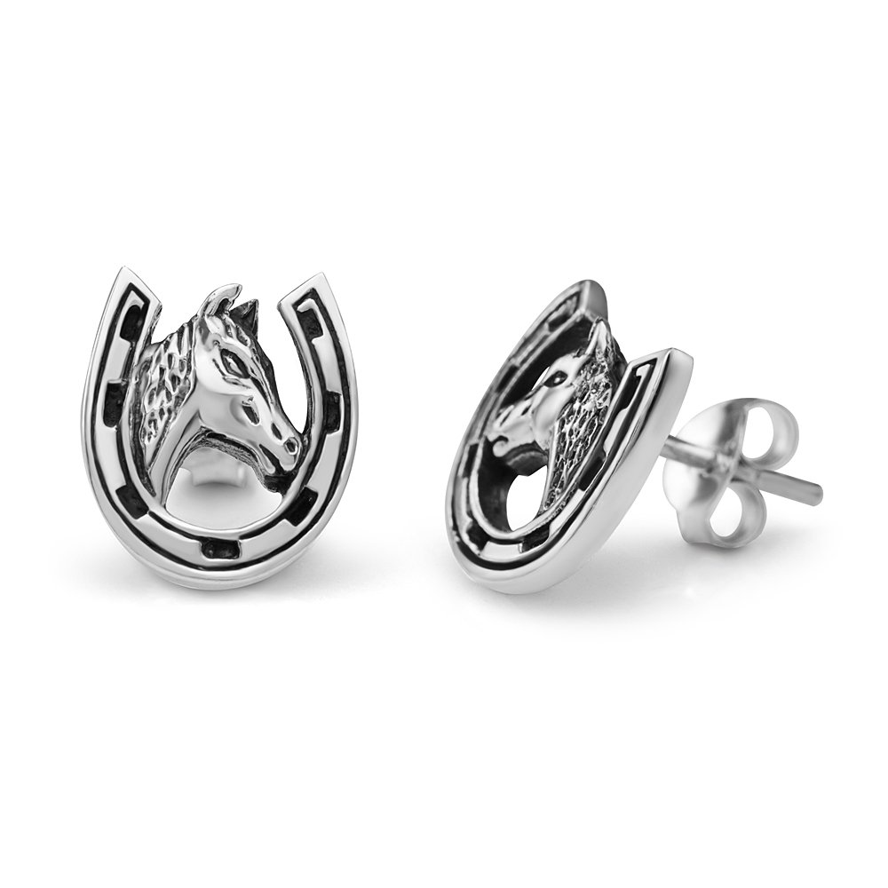 925 Sterling Silver 10 mm Tiny Lucky Horse Shoe with Horse Head Post Stud Earrings