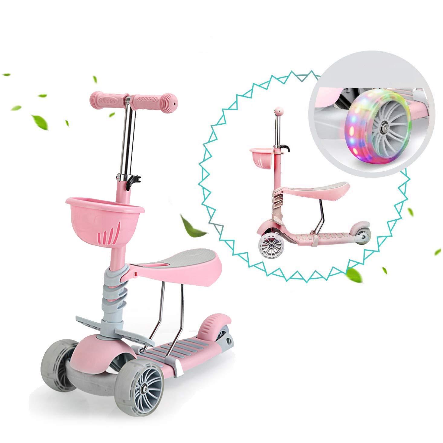 Vinteky Patinete Infantil para Niños de 2-8 Años, Patinete 3 Ruedas PU LED Luces (Rosa)
