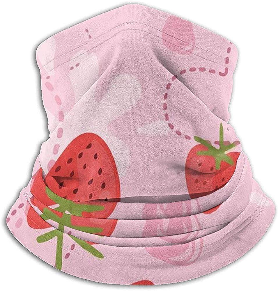 Nice-Guy Calentador de cuello de microfibra Yogurt de fresa Amor Tubo de polaina de cuello rosa Calentador de oídos Diadema Bufanda Mascarilla Pasamontañas