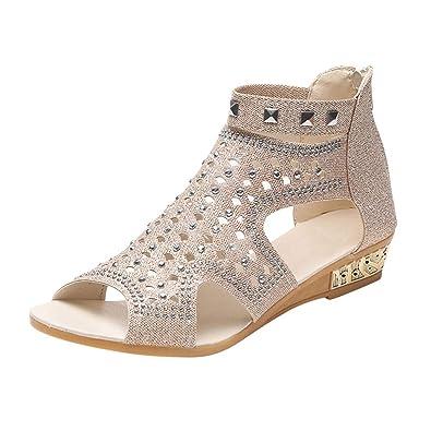 73e2f59c0 Yudesun Womens Flat Beach Sandals - Summer Ladies Wedding Bridal Glitter  Sparkly Sequin Peep Toe Rhinestone