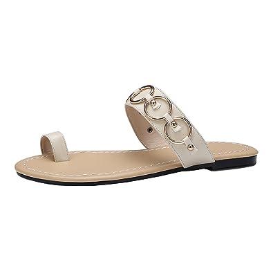 42e2a721ba40 Odetina Apricot Women s Toe Ring Flip Flop Metal Ornament Comfort Flats  Dress Sandals Shoes Size 4