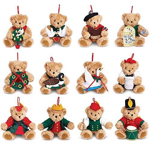 Vermont Teddy Bear - 12 Days of Christmas Ornament Set (Teddy Ornament Christmas Bear Tree)