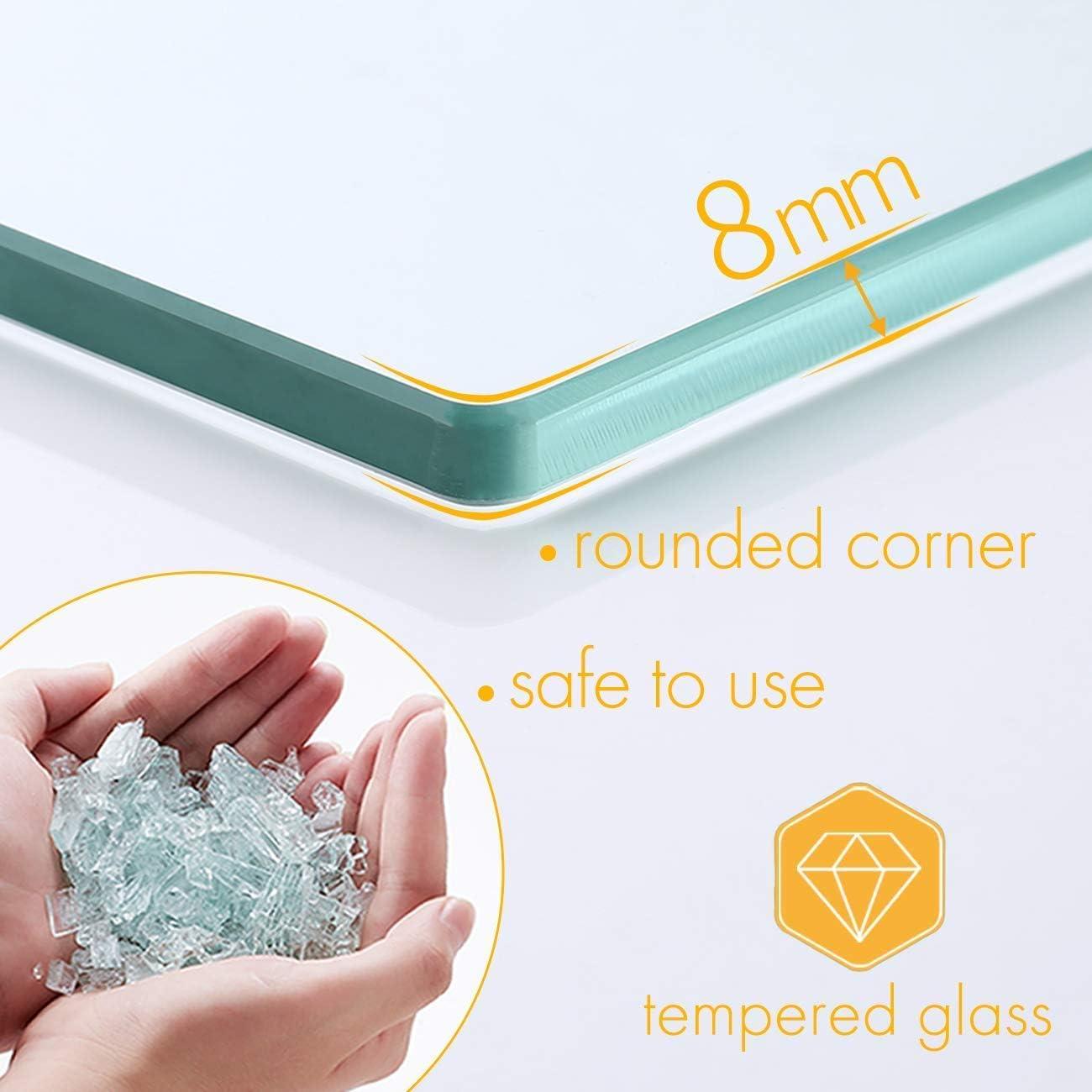 montaggio a parete A2021-2 Essentials grandezza 50 cm in vetro temperato spesso 8 mm e nichel spazzolato mensola portaoggetti per il bagno Umi rettangolare