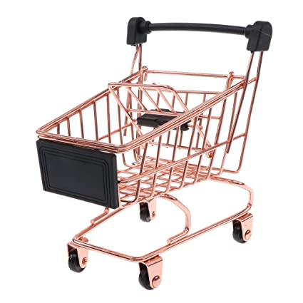eb762993aceb Baoblaze Novelty Mini Shopping Cart Trolley Toy - Pen/ Pencil/ Cards Holder  Desk Accessory - Rose Gold S