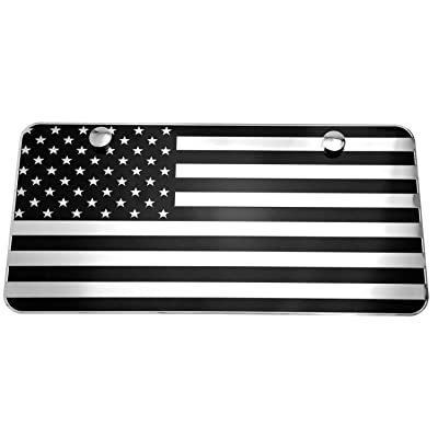 """LFPartS USA American Black & Chrome Flag Embossed Stamped Metal License Plate 2 Hole (12""""x6"""", Black&Chrome): Automotive"""