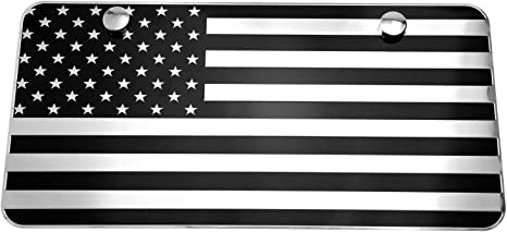 LFPartS USA American Flag Metal Embossed License Plate 12x6, Black