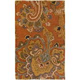 Surya Sea SEA-170 Classic Hand Tufted 100% New Zealand Wool Copper Penny 2'6'' x 8' Paisleys and Damasks Runner