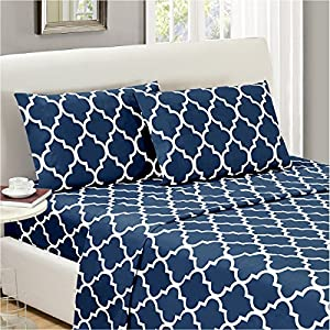 Mellanni Bed Sheet Set Queen-Navy-Blue – Brushed Microfiber Printed Bedding – Deep Pocket, Wrinkle, Fade, Stain Resistant – 4 Piece (Queen, Quatrefoil Navy Blue)