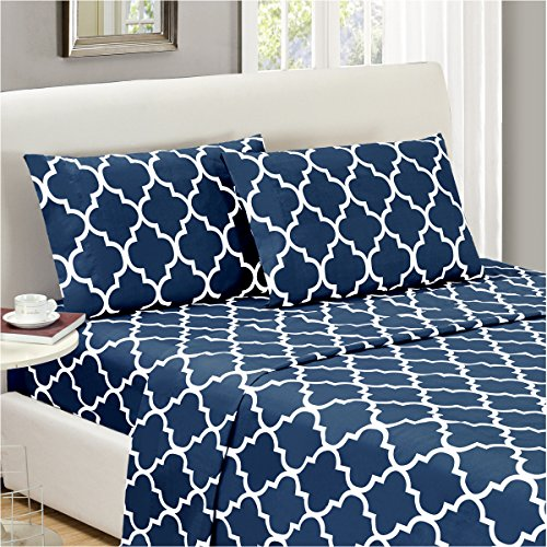 Mellanni Bed Sheet Set Queen-Navy-Blue Brushed Microfiber Printed Bedding - Deep Pocket, Wrinkle, Fade, Stain Resistant - Hypoallergenic - 4 Piece (Queen, Quatrefoil Navy Blue)