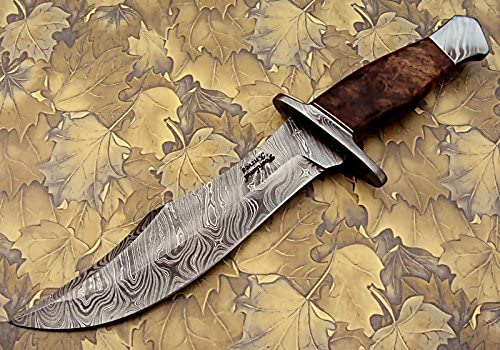 REG-274, Handmade Damascus Steel 13.00 Inches Hunting Knife – Rose Wood with Damascus Steel Guards Handle