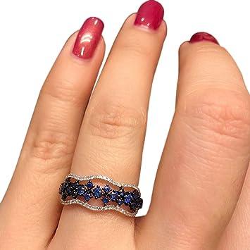 Pengyu Fashion Frauen Silber Vergoldet Hohl Faux Sapphire Ring