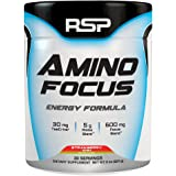 RSP AminoFocus - Energy & Focus Formula, BCAA Powder with TeaCrine, Alpha-GPC and Caffeine for Building Lean Muscle and Laser Focus, All-Natural Flavors & Colors, Strawberry Kiwi, 30 Servings
