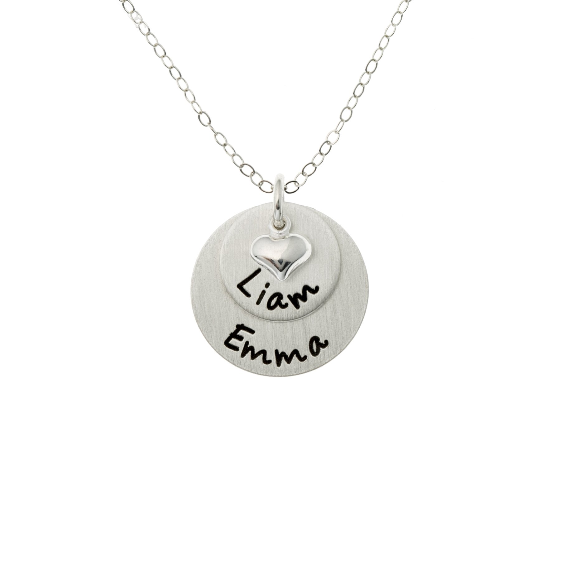 AJ's Collection Flat Lucky Two Personalized Sterling Silver Name Necklace. Customize with 2 names. Matte Finish. Choice of Sterling Silver Chain. Gifts for Her, Mom, Wife, Girlfriend, Grandmother