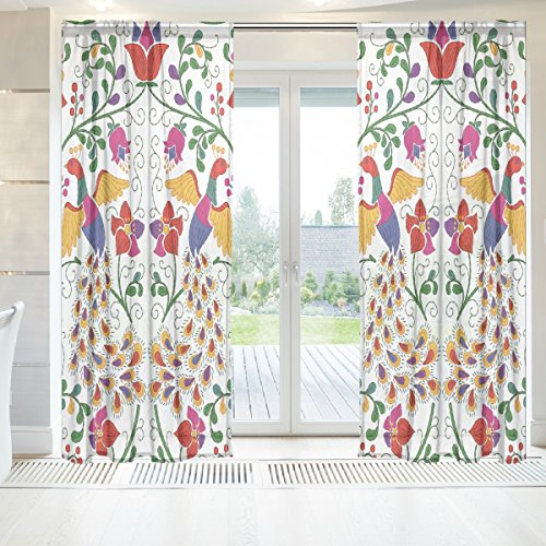 INGBAGS Mexican Peacock And Flowers Voile Window Long Sheer