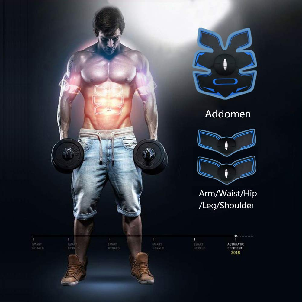 TKD Abs Trainer Abdominal Arms Shoulder Waist Legs EMS Muscle Stimulator 6 Modes 10 Levers USB Rechargeable Hydrogel Pads Toner Fitness Home Workout Fitness Device For Women Men