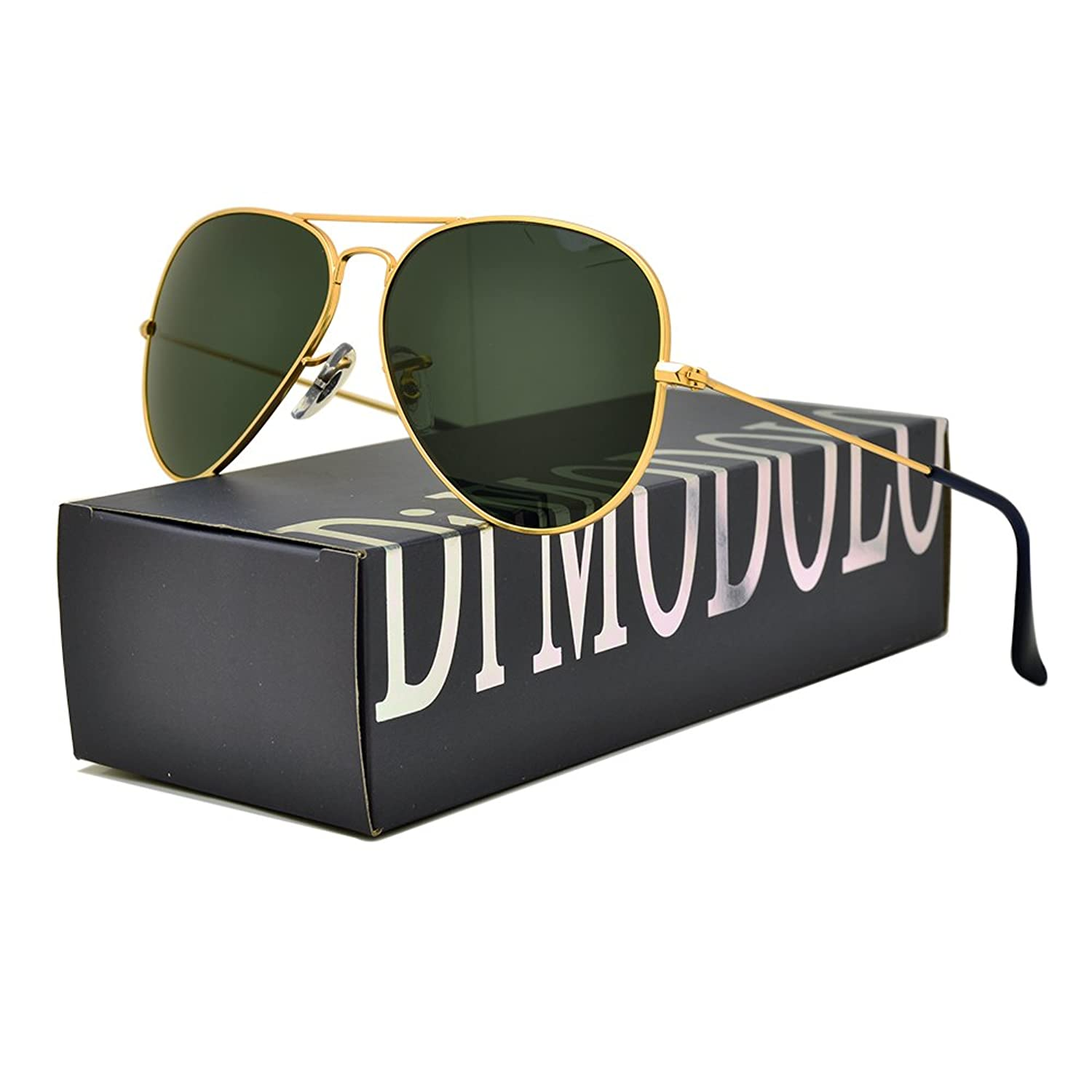 Actual Glass Lens and Polarized Multiple Color Options. Fishion Matte Metal Frame Aviator Sunglasses UV400