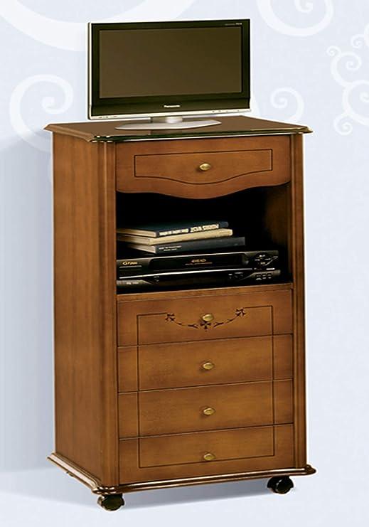 Mesa para televisor con ruedas madera DM, 47 x 39 x 99 cm-PEGANE ...