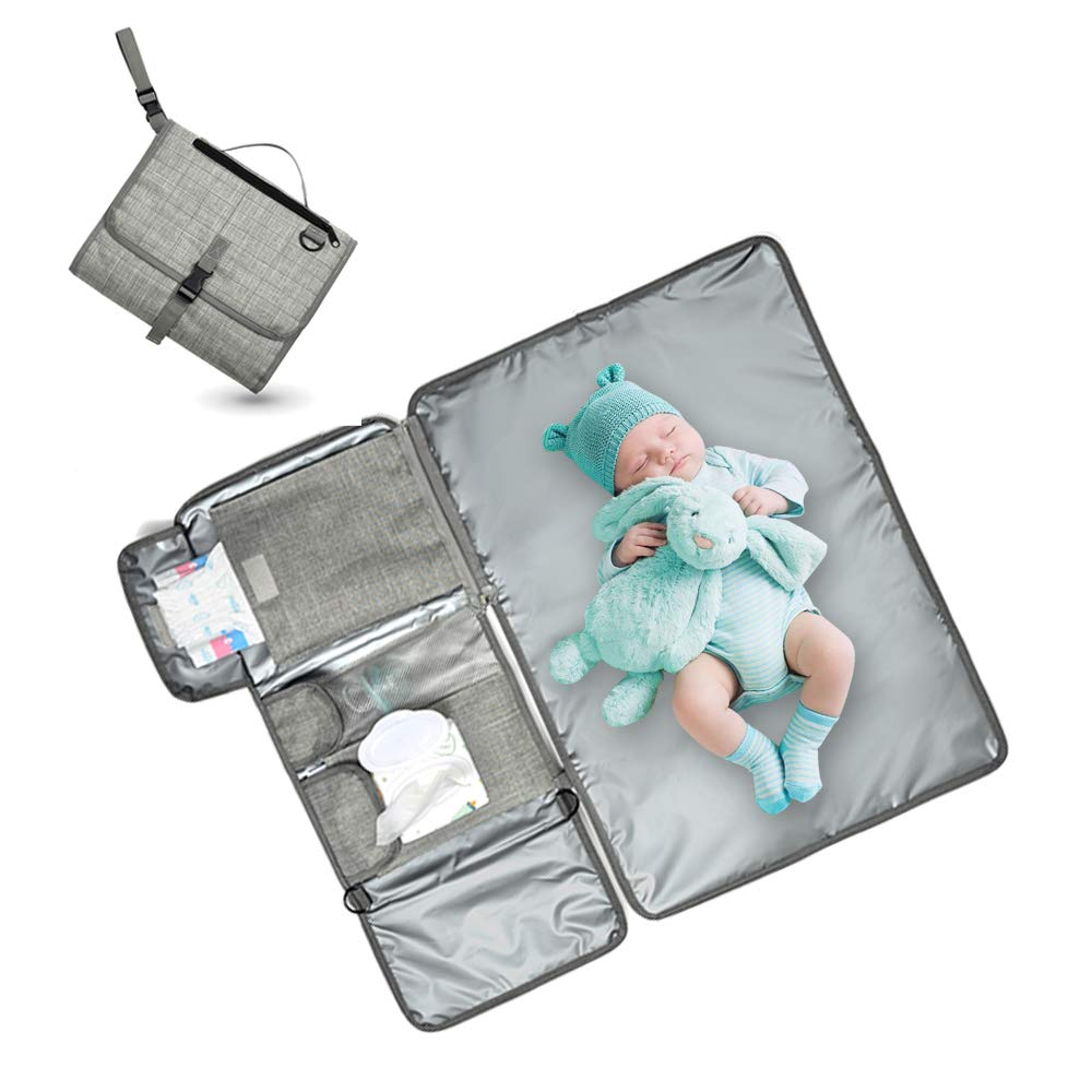 Portable Changing Pad,Vaezyd Super Soft Waterproof Cushioned Diaper Station Kit with 4 Pockets, Travel Change Mat for Toddlers, Baby, Girls Boys Newborn (Grey) by Vaezyd