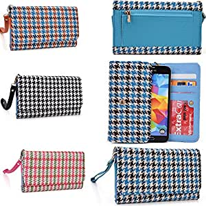 Smartphone wallet wristlet: glen plaid pattern: Baby blue/Chocolate brown: Universal design fits ZTE Kis 3 Max