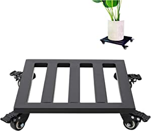 Square Metal Plant Pot Roller Stand with Wheels, Black Moveable Square Mental Plant Rolling Caddy, Utility 16 inch Heavy Duty Flower Pot Caddy Wheeled Coaster with Brake