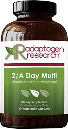 2/A Day Multi   Adult Multivitamin Supplement Iron-Free with Active Folate Quatrefolic, Chelated Minerals, Vitamins A, B6, C, D, E, K, Riboflavin, Thiamin   60 Vegetarian Capsules   Adaptogen Research