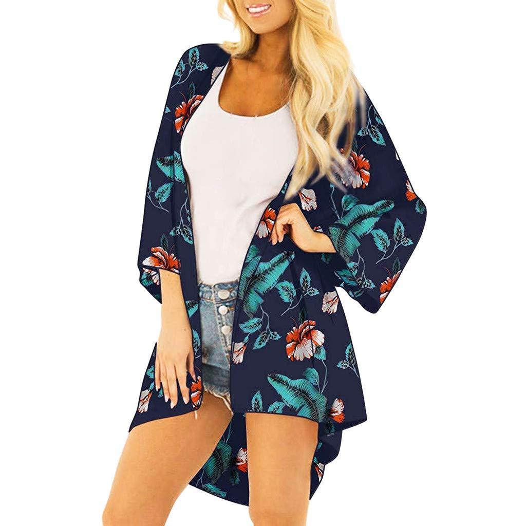NUWFOR Women Fashion Chiffon Leaf Coat Tops Suit Bikini Swimwear Beach Swimsuit Smock(Black,S US Bust:38.58'')