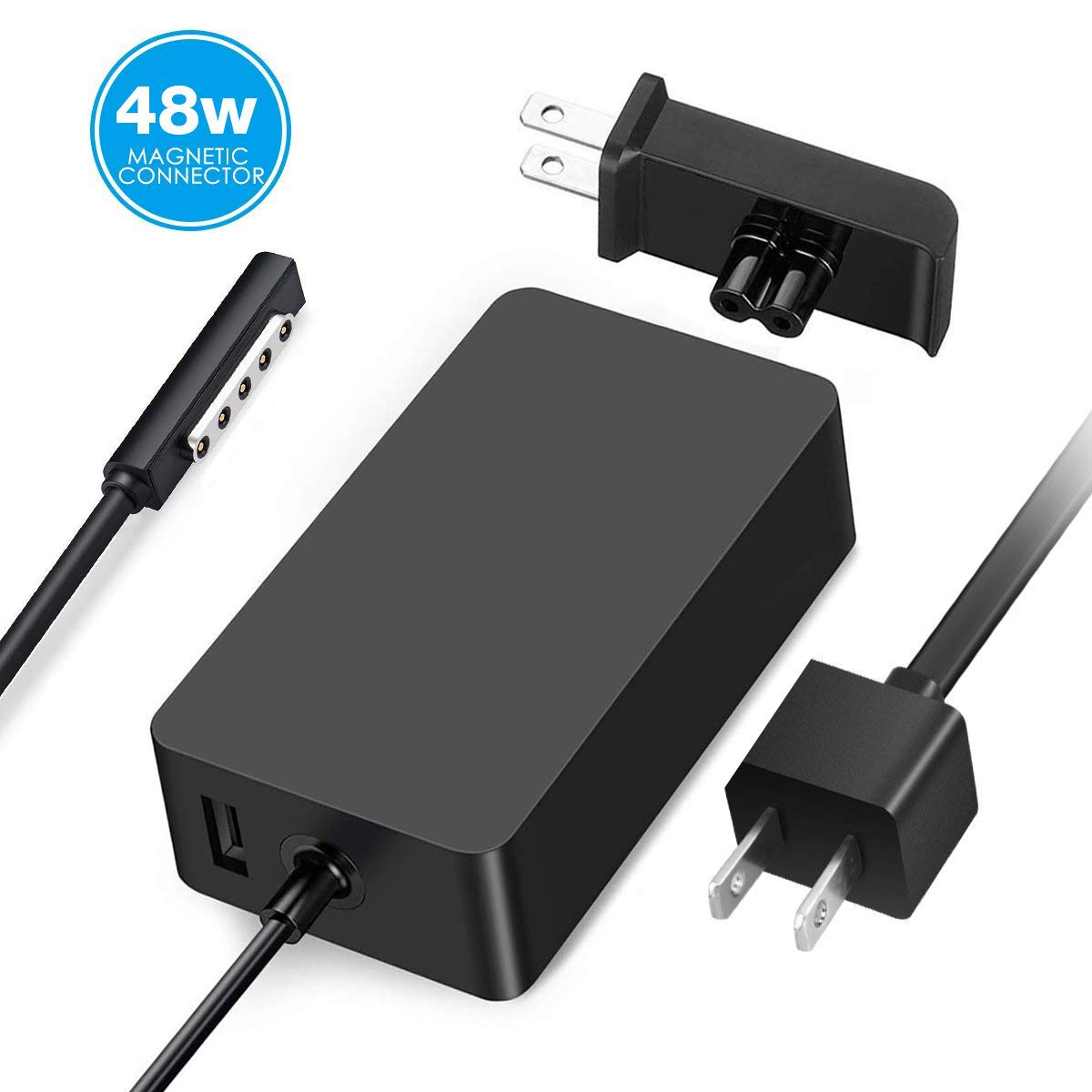 AC Adapter Charger 48W 12V 3.6A for Surface RT Surface Pro 1 Surface Pro 2 Surface 2 1512 1536 Charger, with 6Ft Power Cord and Portable Wall Plug