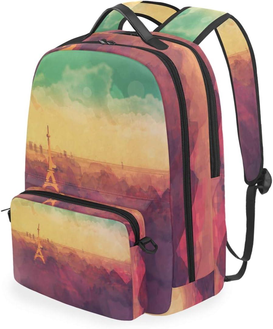 FANTAZIO Backpacks and Cross Bag Watercolor Eiffel Tower School Bag Set