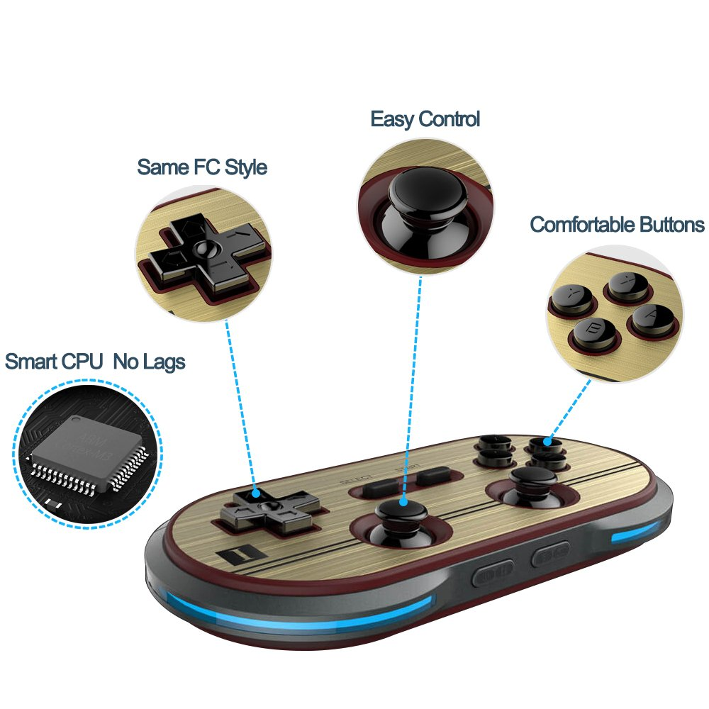 ElementDigital 8Bitdo F30 Pro Wireless Bluetooth Controller GamePad Retro Styled for PCs /Android & iOS Phones /MacOS /Playsation 3 PS3 /Wii-U /Wii /RetroN5 Switch Gamepad by ElementDigital (Image #4)