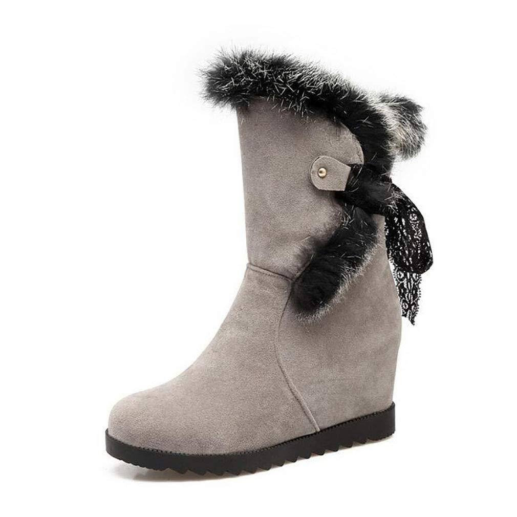 Hy Damen Wildleder Winter Comfort Schneestiefel Erhellen Runde Toe Stiefelies/Winter wasserdicht Snowproof Keilabsatz Stiefel/Fashion Stiefel Gelb/Schwarz / Beige (Farbe : B, Größe : 34)