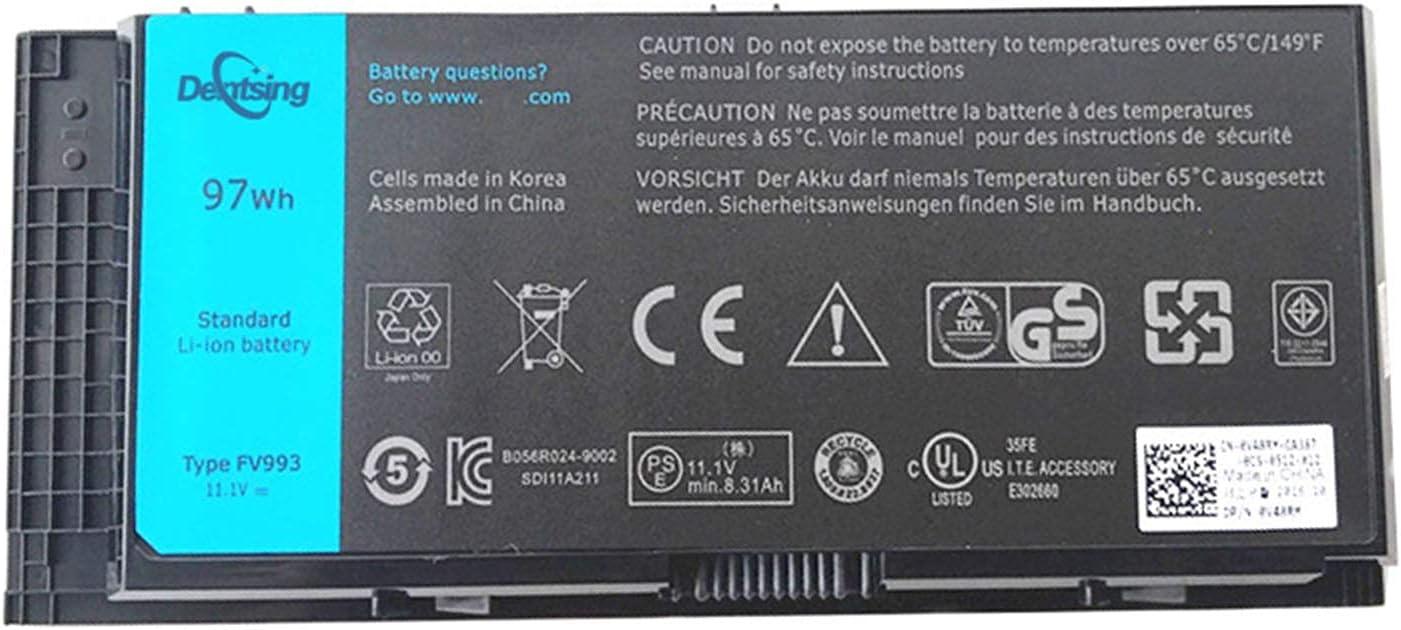 Dentsing FV993 Battery for Dell Precision M4600 M4700 M4800 M6600 M6700 M6800 Laptop Battery 9-Cell 97WH FV993 FJJ4W