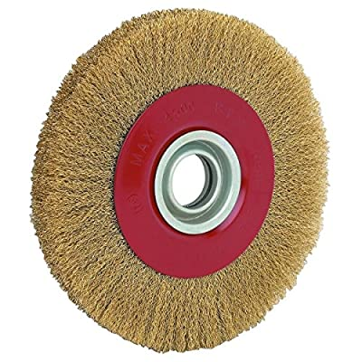 "KCHEX>8"" INCH ROUND BRASS WIRE BRUSH WHEEL FOR BENCH GRINDER>Perfect for rust and paint removal, deburring, descaling, finishing and polishing, this crimped wire wheel features soft brass wire"