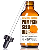 Organic PUMPKIN SEED OIL grown in USA - 4 oz. Dark Glass Bottle with Glass Eye Dropper | Highest Quality 100% Pure , Unrefined , Cold Pressed Oil