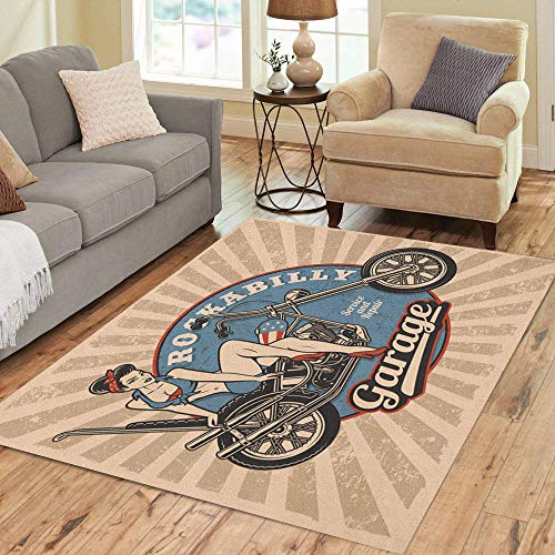 Pinbeam Area Rug Pin Up Girl on Motorcycle Monochrome Vintage All Home Decor Floor Rug 3' x 5' Carpet