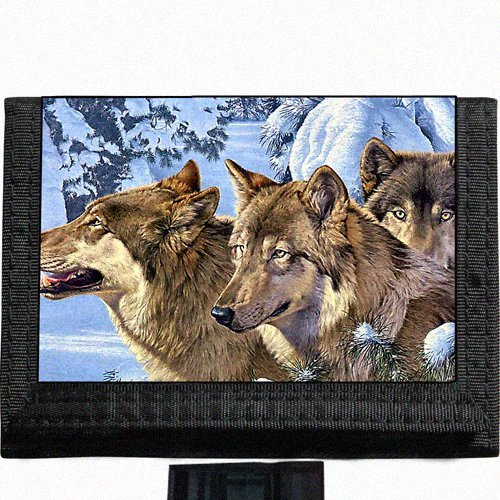 Wolf pack Black TriFold Nylon Wallet Great Gift Idea