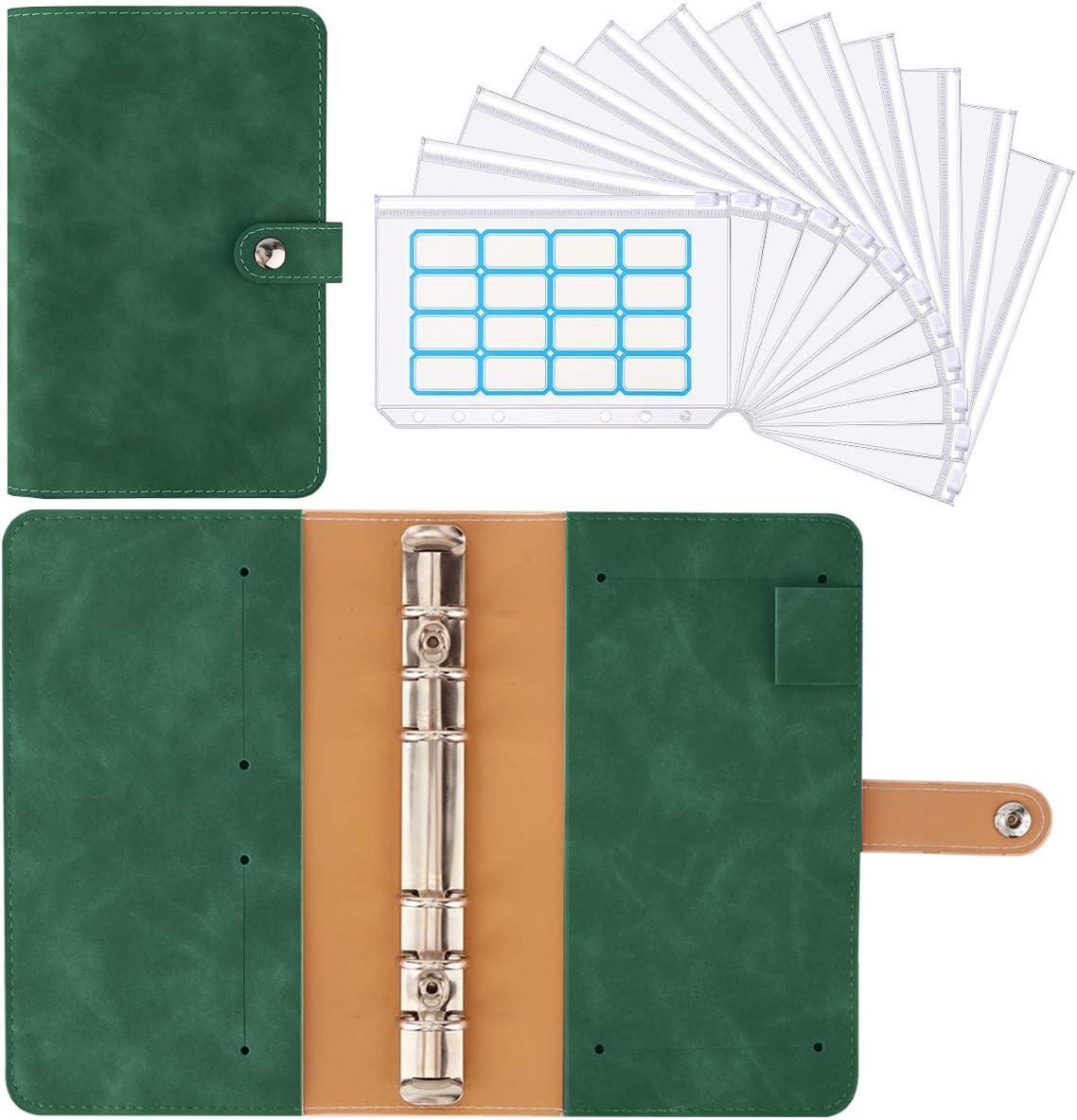 Housolution 6 L/öcher Loseblatt Notizbuch Indigo Binder Notebook aus PU Leder mit 12 St/ück A6 PVC Binderumschl/ägen Etikettenaufklebern Binder Notizbuch Ringbuchordner