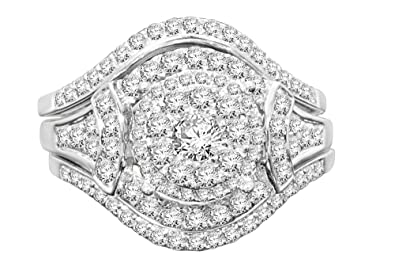 1 Ct Natural Diamond Cluster Split Shank Bridal Set In 10k White Gold Consumers First Jewelry & Watches