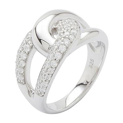 ea5eefbfb3f7 Fossil Jewelry Silver Basic XL - Anillo de plata de ley con circonita