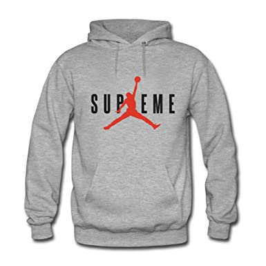 ce993a9d2e2d Image Unavailable. Image not available for. Colour  Wolf Apparel Supreme Air  Jordan Women s Hooded Sweatshirts