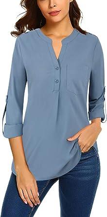 Bulotus Womens V Neck Chiffon Blouse Business Casual Button Down Shirts