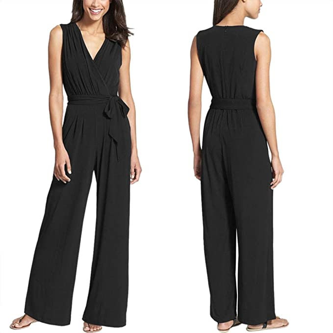 c1496557488e Amazon.com  Jushye Hot Sale!!! Women Sleeveless Jumpsuit