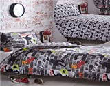 Kidz Club Teenagers Double Bed Duvet Cover and 2 Pillowcase Bedding Bed Set Cool Skateboards and Graffiti Quilt Cover Set - Tricks, Grey