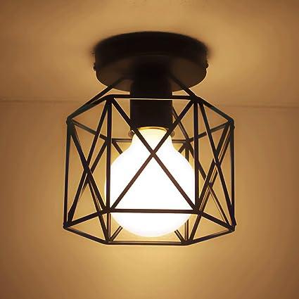 Hines Retro Vintage Plafón haenge lámpara 15 cm ancho Cocina Pasillo de lámpara E27 Negro Lámpara de pantalla de la Industria Proyección Deck Techo ...