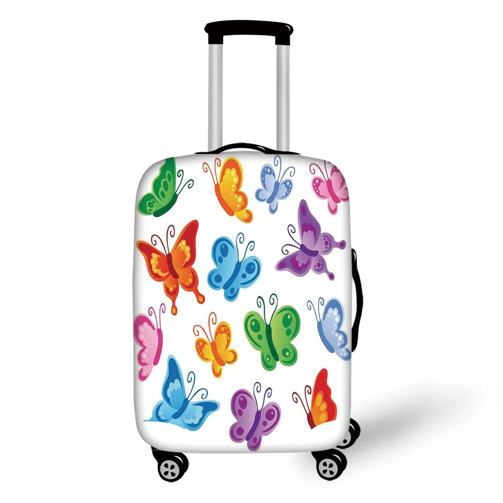 Travel Luggage Cover Suitcase Protector,Butterflies,Collection of Colorful Butterfly Print Cute Ornate Winged Animal Love Graphic Print Decorative,Multi,for Travel
