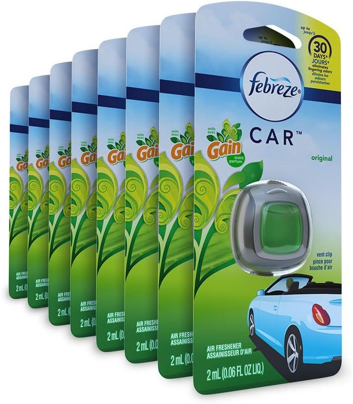 Febreze Car Air Freshener, Car Vent Clip and Odor Eliminator, Gain Original Scent, 8 Count