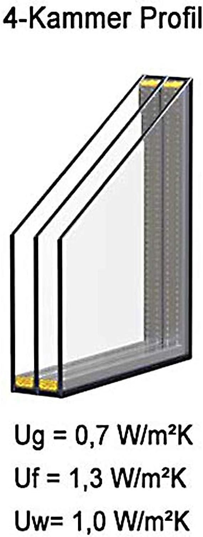 junta Ventana para s/ótano de PVC giratoria DIN derecha cristal de 3 capas color negro 80 x 40 cm ancho x alto