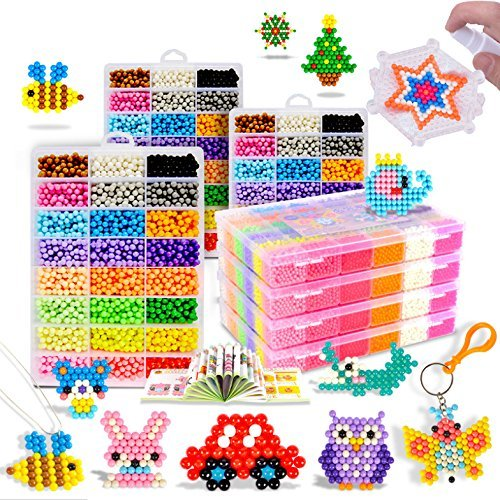Maggift 3600 pcs Fuse Beads with DIY Pegboard and Full Set Accessories,24 Candy colors (a) ()