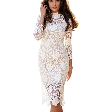 471bfa30edfc FRCOLT Fashion Womens Sexy Lace Bodycon Pencil Dress Cocktail Prom Gown  Tight Dress (S