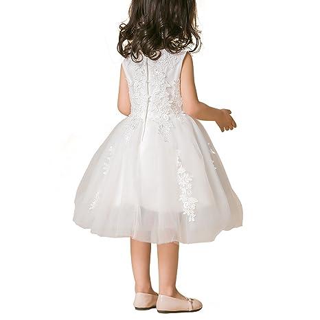 Li Vestido de Niñas de Fiesta de Noche Blanco Boda de Niñas Elegante Vestido de Princesa: Amazon.es: Ropa y accesorios
