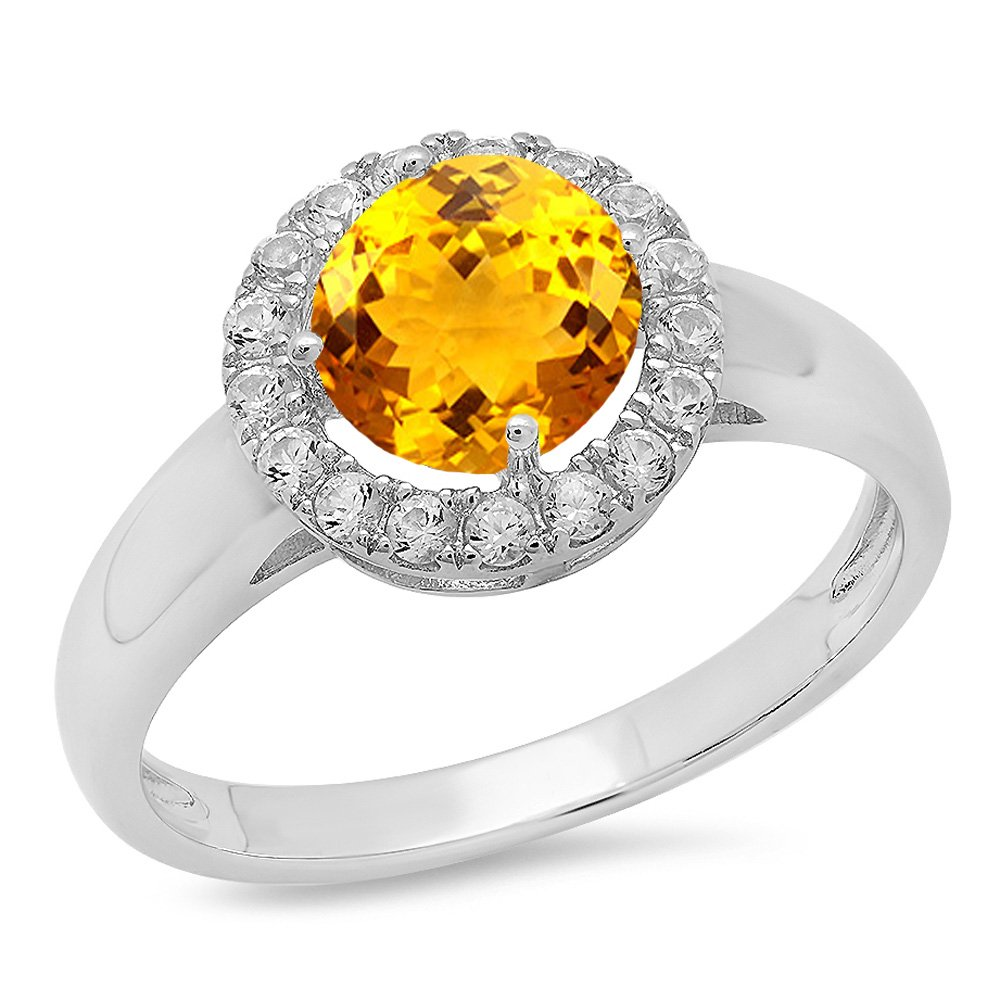 Dazzlingrock Collection Sterling Silver Round Citrine /& White Sapphire Ladies Halo Style Bridal Engagement Ring Size 7